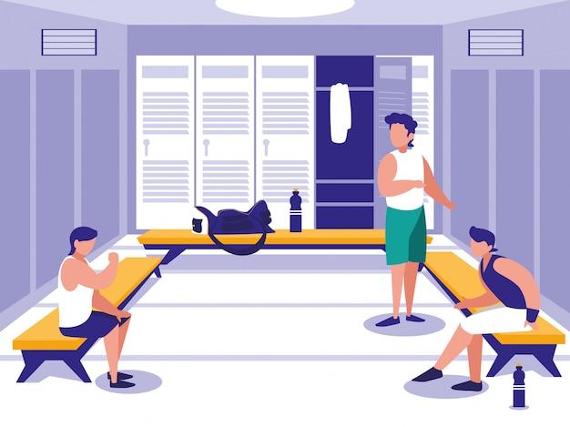 Mężczyźni na miejscu z szafką sportowej siłowni