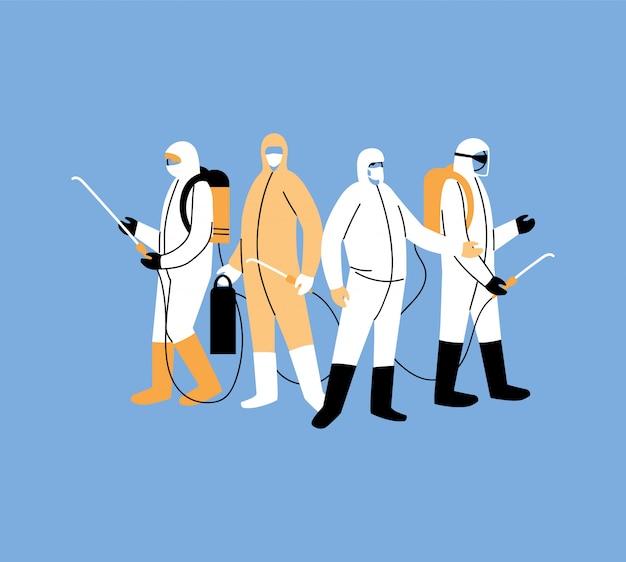 Mężczyźni noszą ubranie ochronne, dezynfekcję koronawirusem lub covid 19