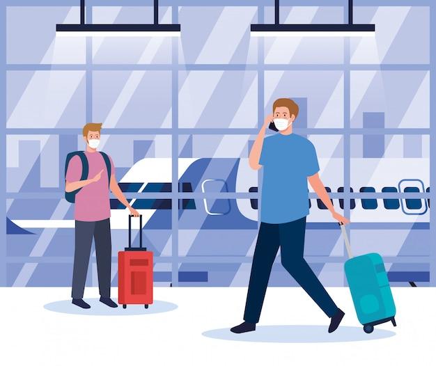 Mężczyźni noszący maskę ochronną w terminalu lotniska, podróżujący samolotem podczas pandemii koronawirusa, zapobieganie 19