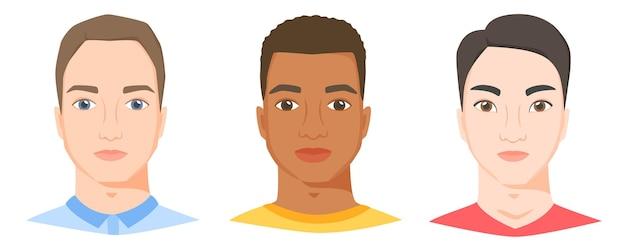 Mężczyźni o różnej rasie etnicznej i wyglądzie białe, czarne i azjatyckie twarze mężczyzn w płaskim stylu