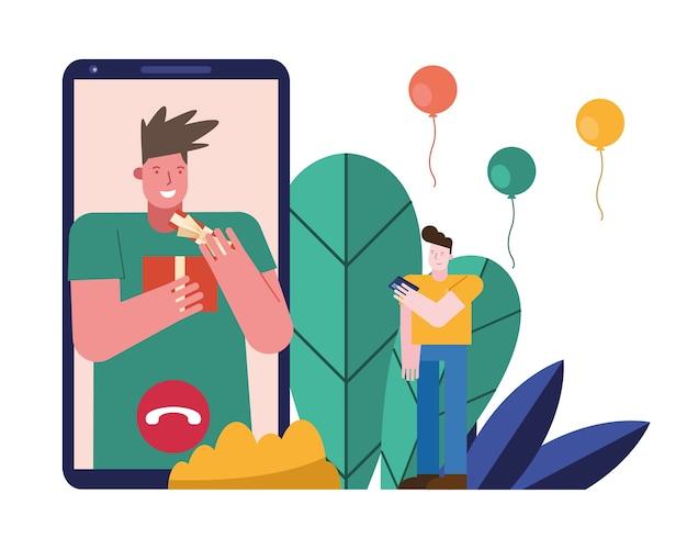 Mężczyźni otwierający prezenty w projektowaniu ilustracji wektorowych sceny postaci smartfonów