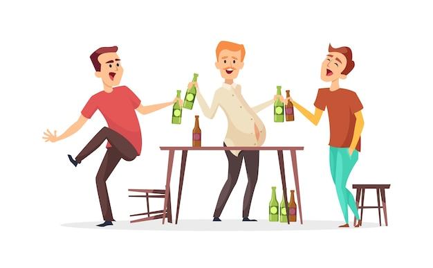 Mężczyźni piją piwo. postacie pijanych przyjaciół. impreza piwna oktoberfest. przyjaciele w barze lub pubie
