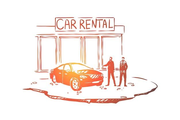 Mężczyźni poza centrum dealerskim, ilustracja klienta i sprzedawcy