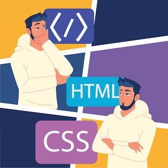 Mężczyźni programiści z kodami rozwojowymi