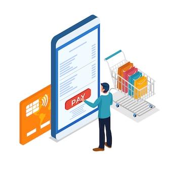 Mężczyźni robią zakupy online i płacą telefonem komórkowym.