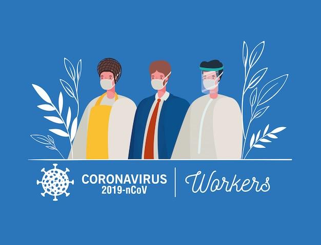Mężczyźni robotnicy awatary z maskami medycznymi i mundurami