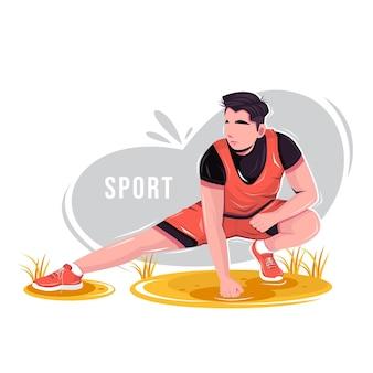 Mężczyźni rozgrzewają się przed i po ćwiczeniach ilustracji