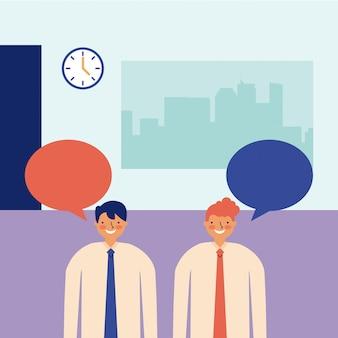 Mężczyźni rozmawiają o codziennej pracy w biurze