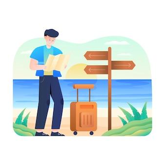 Mężczyźni sprawdzają mapę na plaży