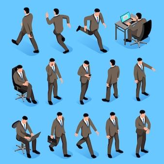 Mężczyźni stanowią ikony izometryczny zestaw z postaciami męskimi w garniturach, idąc do pracy i siedząc w miejscu pracy na białym tle