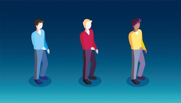 Mężczyźni stojący w różnych pozach