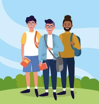 Mężczyźni uniwersyteccy z plecakami i książkami do nauki