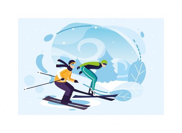 Mężczyźni uprawiający sport ekstremalnie zimą