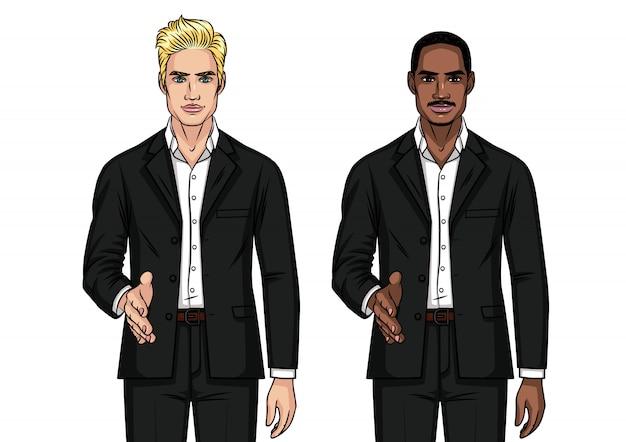 Mężczyźni w garniturach drżą rękę