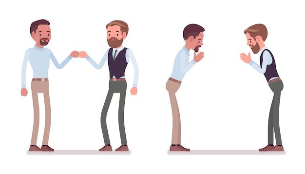 Mężczyźni w geście uderzenia pięścią i namaste