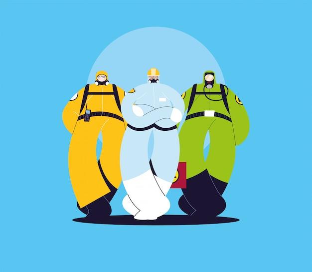 Mężczyźni w kombinezonach ochronnych, odzieży ochronnej