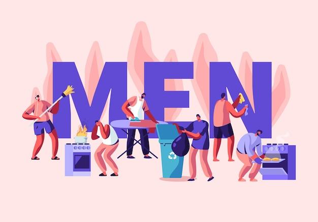 Mężczyźni w koncepcji działań domowych. zamiatanie podłogi, sprzątanie domu, prasowanie, wyrzucanie śmieci, gotowanie.