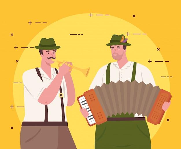 Mężczyźni w niemieckim stroju narodowym z akordeonem i trąbką, grupa mężczyzn w projektowaniu ilustracji wektorowych tradycyjny strój bawarski