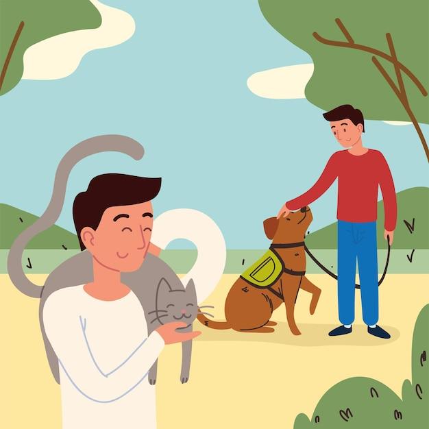 Mężczyźni w parku ze zwierzętami
