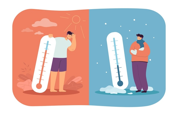 Mężczyźni w zimnej i gorącej pogodzie płaskiej ilustracji
