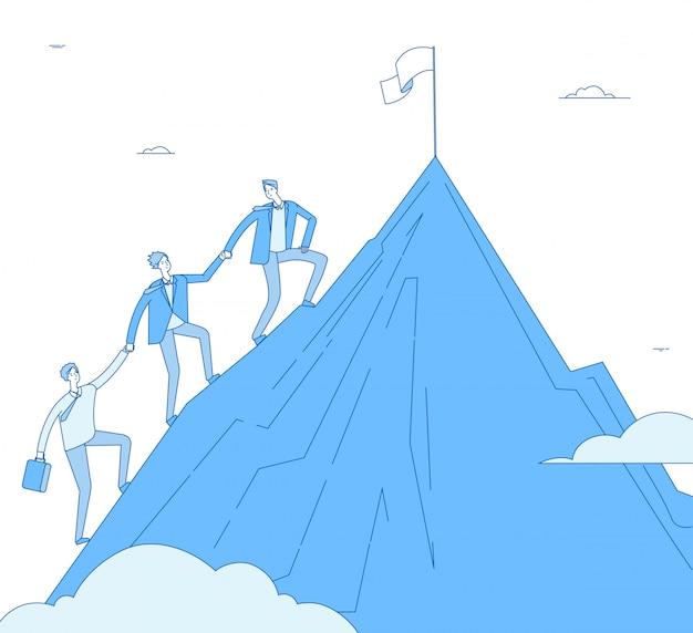Mężczyźni wspinają się na góry. lider sukcesu z drużyną awansuje na szczyt zwycięskiego zwycięzcy. osiągnięcie biznesu, osiągnięcie przywództwa