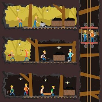 Mężczyźni wydobywają węgiel w kopalni.