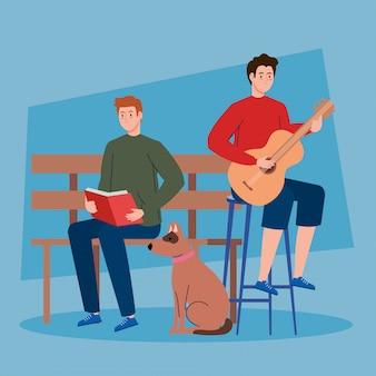 Mężczyźni wykonujący czynności, grający na gitarze i czytający książkę, z maskotką psa