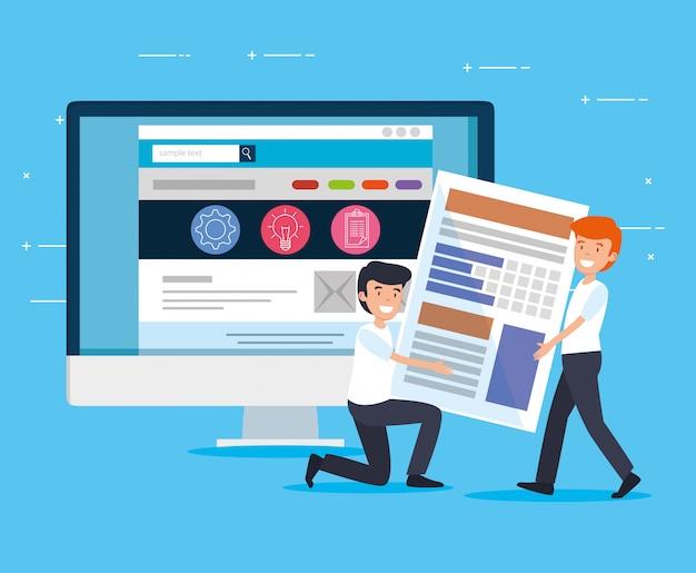 Mężczyźni z dokumentami biurowymi i komputerową strategią strony internetowej
