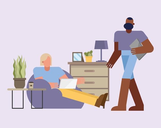Mężczyźni z laptopa pracy na puf z domu projekt motywu telepracującego ilustracja wektorowa