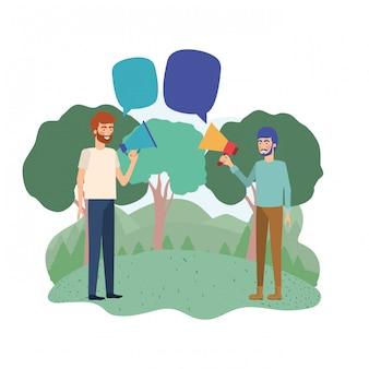Mężczyźni z megafonem w dłoni w krajobrazie