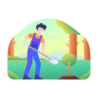 Mężczyźni zasadzili łopatą nasiono drzewa