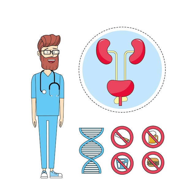 Mężczyźni zdrowi i lekarz z układem moczowym