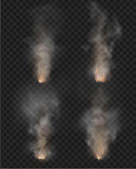 Mgła i dym. ogień na przezroczystym tle