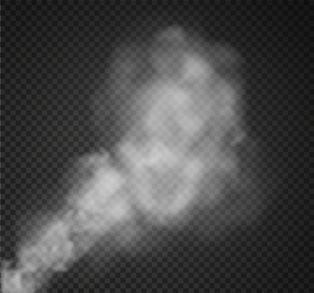 Mgła lub dym na białym tle przezroczysty efekt specjalny. białe zachmurzenie