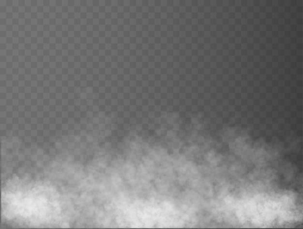 Mgła lub dym na białym tle przezroczysty efekt specjalny biały wektor zachmurzenie mgła lub smog tło vec...