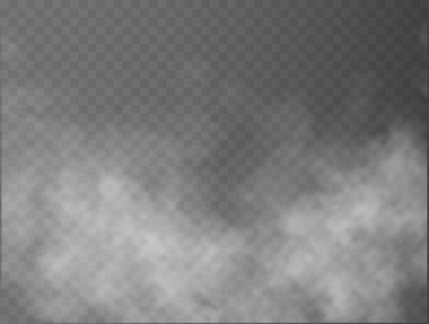 Mgła lub dym na białym tle przezroczysty efekt specjalny biały wektor zachmurzenie mgła lub smog tło