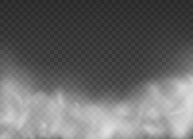 Mgła lub dym na białym tle przezroczysty efekt specjalny ilustracja tekstury pary