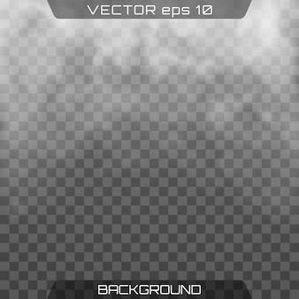 Mgła lub dym. realistyczna chmura, przezroczyste tło.