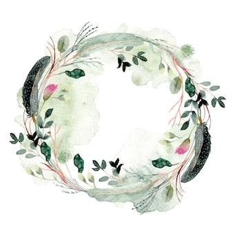 Mgliste pióro i wieniec kwiatowy akwarela