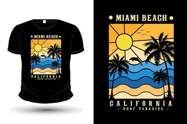 Miami beach california towar sylwetka t shirt design w stylu retro retro