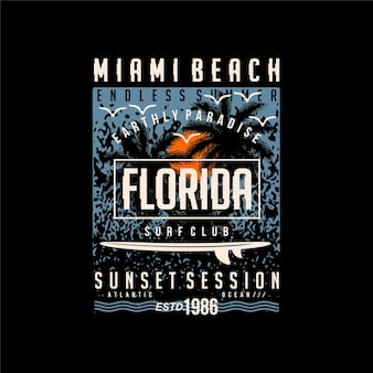 Miami beach florida streszczenie sylwetka grafika typografia wektor ilustracja