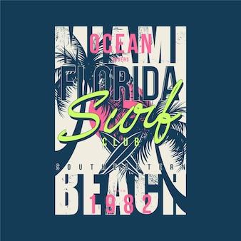 Miami beach na florydzie streszczenie dla ilustracji projekt koszulki typografii