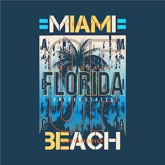 Miami beach z grafiką w tle