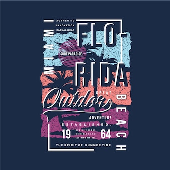Miami Florida Beach Typografia Ilustracja Projekt Premium Wektorów