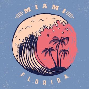 Miami. szablon plakatu z napisem i palmami. wizerunek