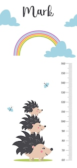 Miarka wzrostu dla dzieci. . śliczny pomiar skali dla dzieci rośnie. miernik wzrostu dziecka.