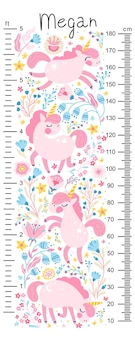 Miarka wzrostu dla dzieci z jednorożcami w kwiatach