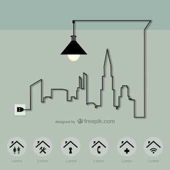 Miasta szablon wektora energii