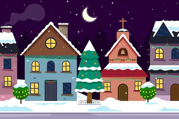 Miasteczko bożonarodzeniowe w płaskiej konstrukcji