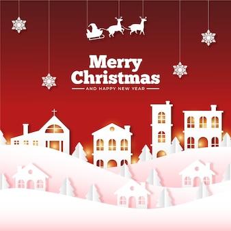 Miasteczko bożonarodzeniowe w stylu papierowym